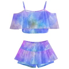 Background Abstract Purple Watercolor Kids  Off Shoulder Skirt Bikini