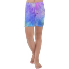 Background Abstract Purple Watercolor Kids  Lightweight Velour Capri Yoga Leggings