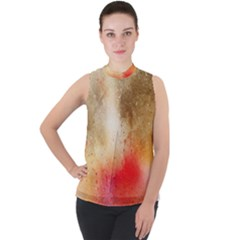 Abstract Space Watercolor Mock Neck Chiffon Sleeveless Top by Alisyart