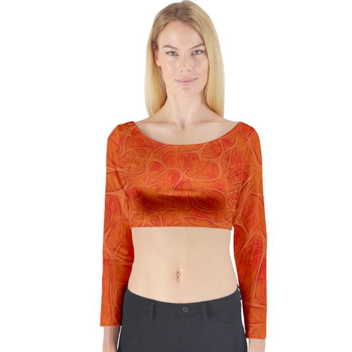 Background Structure Pattern Nerves Long Sleeve Crop Top