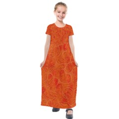 Background Structure Pattern Nerves Kids  Short Sleeve Maxi Dress