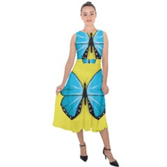 Butterfly Blue Insect Midi Tie Back Chiffon Dress