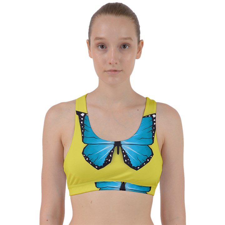 Butterfly Blue Insect Back Weave Sports Bra