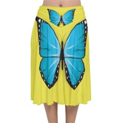 Butterfly Blue Insect Velvet Flared Midi Skirt by Alisyart