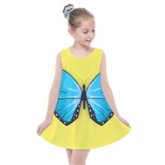 Butterfly Blue Insect Kids  Summer Dress by Alisyart