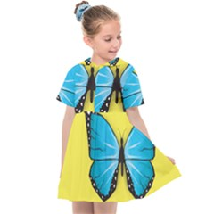 Butterfly Blue Insect Kids  Sailor Dress by Alisyart