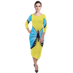 Butterfly Blue Insect Quarter Sleeve Midi Velour Bodycon Dress