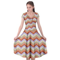 Chevron Pattern Cap Sleeve Wrap Front Dress