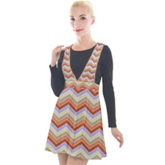 Chevron Pattern Plunge Pinafore Velour Dress