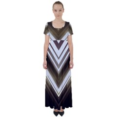 Chevron Triangle High Waist Short Sleeve Maxi Dress by Alisyart
