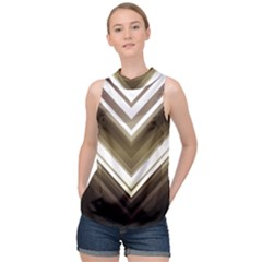 Chevron Triangle High Neck Satin Top by Alisyart