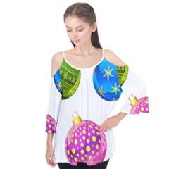 Christmas Ornaments Ball Flutter Tees