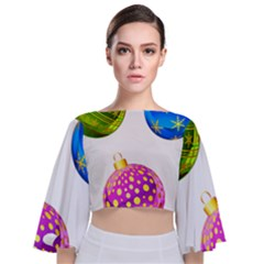 Christmas Ornaments Ball Tie Back Butterfly Sleeve Chiffon Top