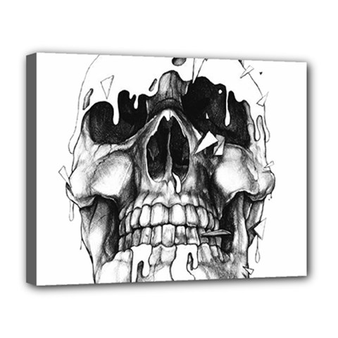 Black Skull Canvas 14  X 11  (stretched)