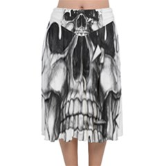 Black Skull Velvet Flared Midi Skirt by Alisyart