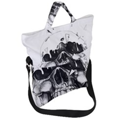 Black Skull Fold Over Handle Tote Bag by Alisyart