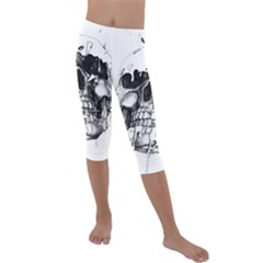 Black Skull Kids  Lightweight Velour Capri Leggings  by Alisyart