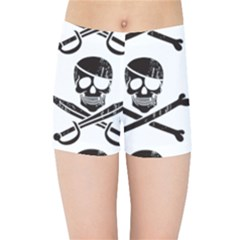 Bone Skull Kids  Sports Shorts by Alisyart