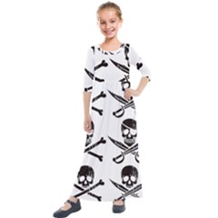 Bone Skull Kids  Quarter Sleeve Maxi Dress by Alisyart