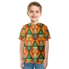 Background Triangle Abstract Golden Kids  Sport Mesh Tee