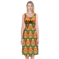 Background Triangle Abstract Golden Midi Sleeveless Dress