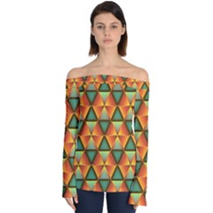 Background Triangle Abstract Golden Off Shoulder Long Sleeve Top