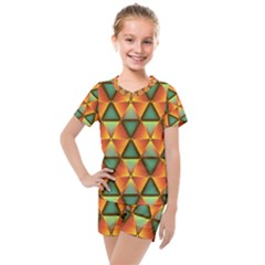 Background Triangle Abstract Golden Kids  Mesh Tee And Shorts Set by Alisyart