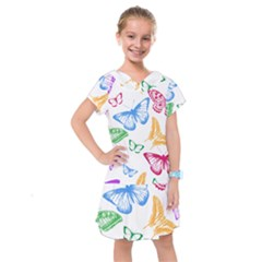 Butterfly Rainbow Kids  Drop Waist Dress