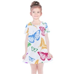 Butterfly Rainbow Kids  Simple Cotton Dress