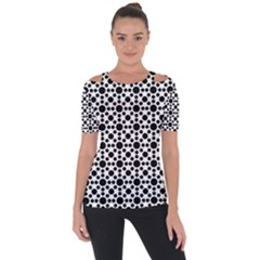 Dot Circle Black Shoulder Cut Out Short Sleeve Top by Alisyart