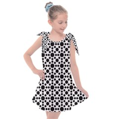 Dot Circle Black Kids  Tie Up Tunic Dress