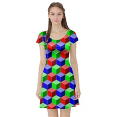 Colorful Prismatic Rainbow Short Sleeve Skater Dress