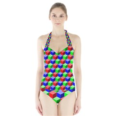 Colorful Prismatic Rainbow Halter Swimsuit by Alisyart
