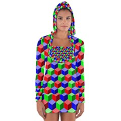 Colorful Prismatic Rainbow Long Sleeve Hooded T-shirt by Alisyart