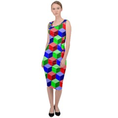 Colorful Prismatic Rainbow Sleeveless Pencil Dress