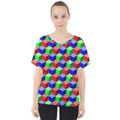Colorful Prismatic Rainbow V Neck Dolman Drape Top by Alisyart
