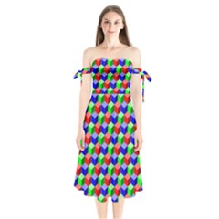 Colorful Prismatic Rainbow Shoulder Tie Bardot Midi Dress by Alisyart