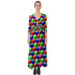 Colorful Prismatic Rainbow Button Up Boho Maxi Dress by Alisyart