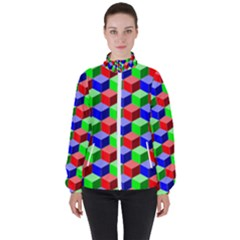 Colorful Prismatic Rainbow High Neck Windbreaker (women) by Alisyart