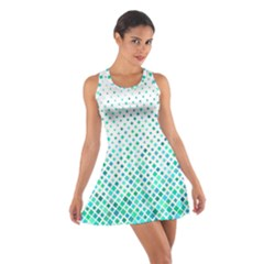 Diagonal Square Cyan Element Cotton Racerback Dress
