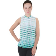 Diagonal Square Cyan Element Mock Neck Chiffon Sleeveless Top by Alisyart