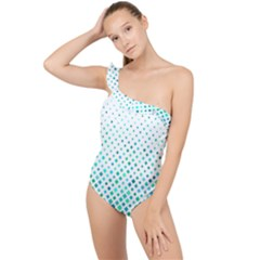 Diagonal Square Cyan Element Frilly One Shoulder Swimsuit