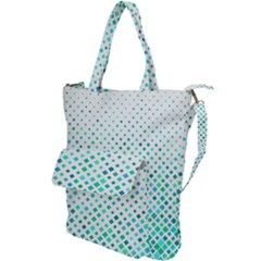 Diagonal Square Cyan Element Shoulder Tote Bag
