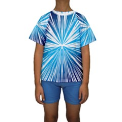 Color Blue Background Structure Kids  Short Sleeve Swimwear