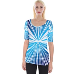 Color Blue Background Structure Wide Neckline Tee by Alisyart