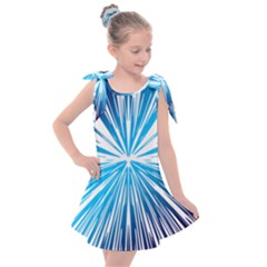 Color Blue Background Structure Kids  Tie Up Tunic Dress