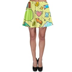 Cute Sketch Child Graphic Funny Skater Skirt