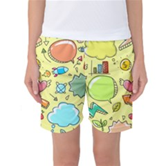 Cute Sketch Child Graphic Funny Women s Basketball Shorts