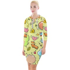 Cute Sketch Child Graphic Funny Quarter Sleeve Hood Bodycon Dress by Alisyart
