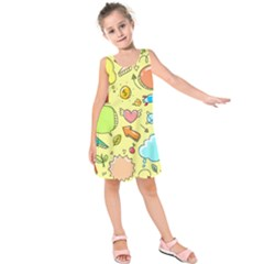 Cute Sketch Child Graphic Funny Kids  Sleeveless Dress